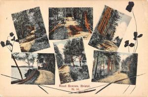 Bristol New Hampshire Road Scene Multiview Antique Postcard K93085