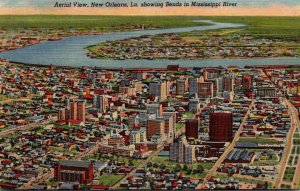 Louisiana New Orleans Aerial View Showing Bends In Mississippi River Curteich