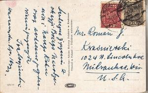 Poland Wesolych Swiat Post Card 1933 to US