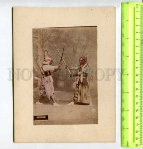 294431 JAPAN samurai fencing & church view 1850-1860 years two tinted photos