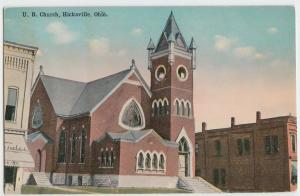 c1910 HICKSVILLE Ohio Postcard UB CHURCH Buildings DEFIANCE COUNTY