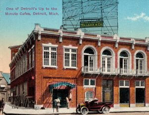 c.1917 Vintage Detroit Up to the Minute Edelweiss Cafe Postcard Street Scene MI