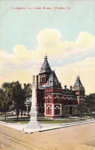 Pontiac Illinois~Livingston County Court House~Civil War Soldiers Monument~1910