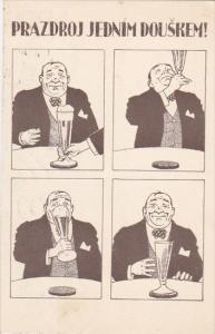 CZECH REPEBLIC; 4-Views of Portly man drinking beer, 00-10s