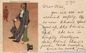 Man leaning against Pole, Slightly Fogged, PU-1901; TUCK # 740