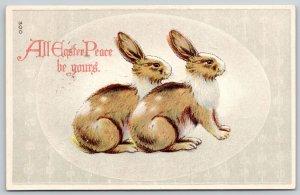 Easter Holiday~Pair of Rabbits~Egg Background~Vintage Postcard