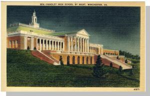 Winchester, Virginia/VA Postcard,Handley High/Night, Nr Mnt!