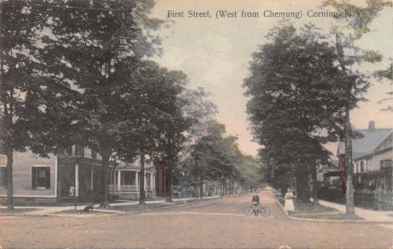CORNING NEW YORK FIRST STREET WEST FROM CHEMUNG~BOY W/ BICYCLE POSTCARD 1910s