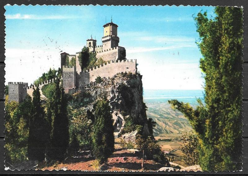 1965 San Marino Castle on top of hill, mailed to USA