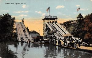 Farmington Utah~Dip-Dips-Whig-Bumps Chutes Ride~Roller Coaster~Flags c1910 PC