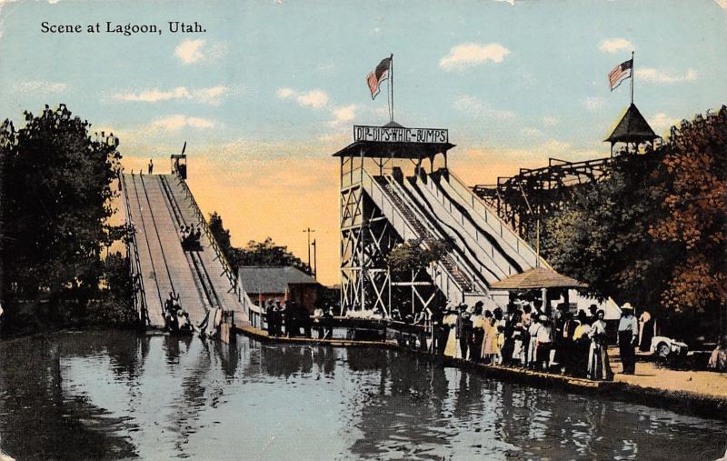 Farmington Utah~Dip-Dips-Whig-Bumps Chutes Ride~Roller Coaster~Flags c1910 PC