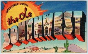 Large Letter Linen THE OLE SOUTHWEST ca 1940s Tichnor Postcard