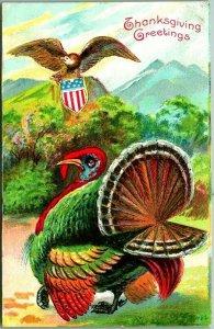 1912 Patriotic THANKSGIVING GREETINGS Postcard Turkey / Bald Eagle w/ Shield