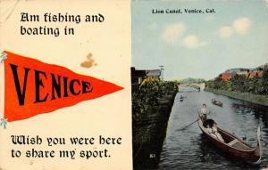 Am Fishing & Boating in Venice California~Share My Sport~Canal~1913 Pennant PC