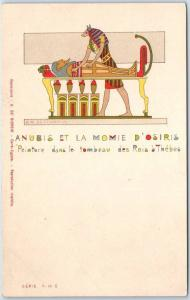 1900s EGYPT Postcard Egyptian Art Anubis et la Momie d'Osiris Published in Fra