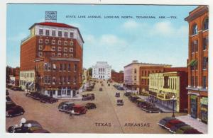 P1138 unused linen postcard divide line ave ark-tex texarkana many old cars etc