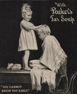 1907 Original Print Ad Adorable Children Packer's Tar Soap 2P1-6 e et