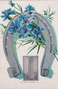 Silver horseshoe & blue flowers, St. Paul Building, New York City, New York, ...