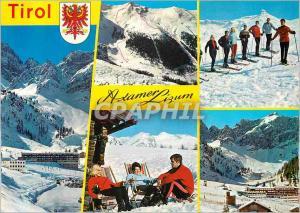 Postcard Modern Tirol Axamer Lizum 1600 m Olympiagebiet Ski Country (Tirol In...
