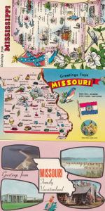 Mississippi National Vacationland 3x Map Postcard s