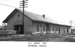 Edinburg Indiana PC Railroad Depot Real Photo Vintage Postcard K103776