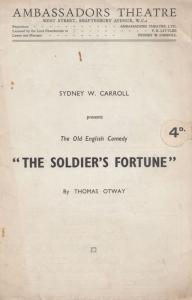 The Soldiers Fortune Thomas Otway Comedy London Theatre Programme