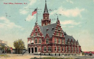 Post Office, Paterson, New Jersey, Early Postcard, Used in 1912