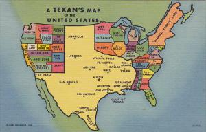 A Texan's Map Of The United States Curteich