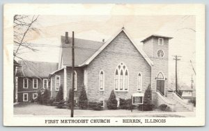 Herrin Illinois~First Methodist Church~Arched Windows~Sign in Front~1920s