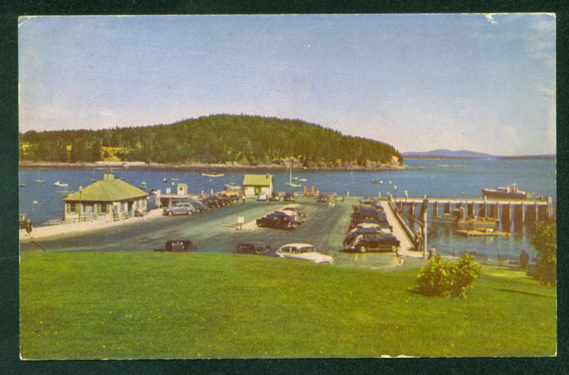 Bar Harbor MUNICIPAL PIER Mt Desert Island MAINE 1950s Autos Vintage Postcard