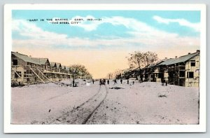 Gary Indiana~Plowing Snow, Home Construction~City in the Making~1920s Postcard