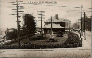 Elkhart Indiana~LS&MS RR Depot~Train at Railroad Station~J Inbody 1908 RPPC
