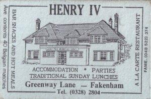 Henry IV Greenway Lane Fakenham Norfolk Pub Inn Matchbox Label