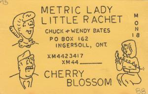 INGERSOLL , Ontario , Canada , 40-50s ; QSL Radio Card #1