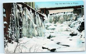 The Old Mill Falls in Winter Snow Ice Icicles Antique Vintage Old Postcard C76