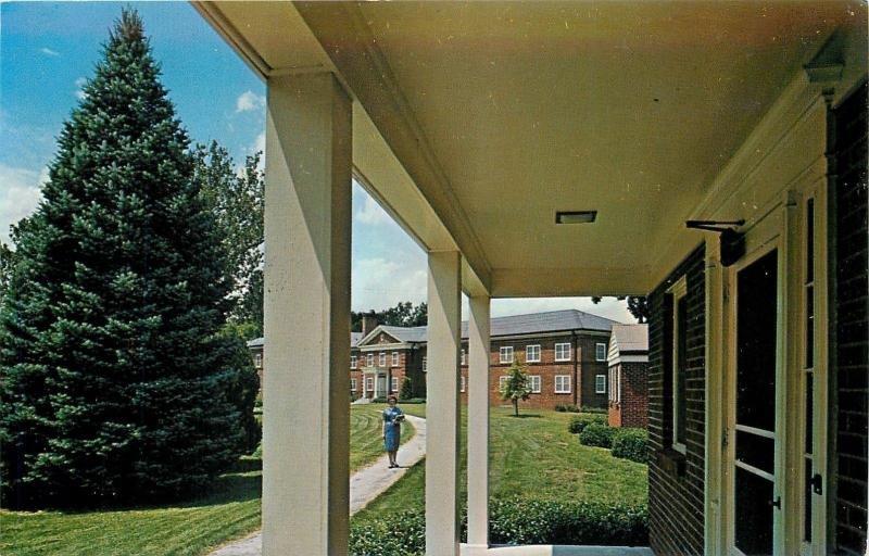 Liberty MO~Wm Jewell College Semple & Jones Halls~Tall Blue Evergreen Tree~1950s