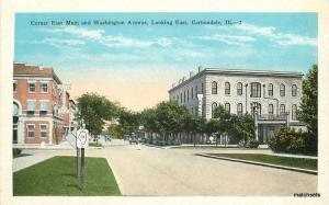 1920s Carbondale Illinois Main Washington East Street Kropp postcard 3659