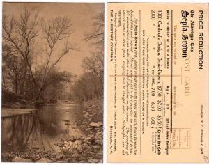 Creek Scene, Columbia MO / Sepia Brown Postcards Adv