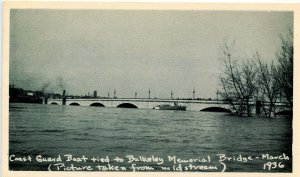 CT - Hartford. Great Flood, March 1936. Coast Guard Boat Tied to Bulkeley Bridge