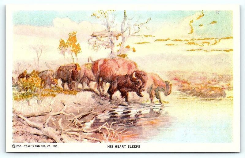 Postcard A/S 1952 Trail's End Artist Charles M Russell His Heart Sleeps