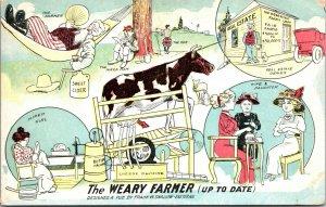 VINTAGE - Comic THE WEARY FARMER - MANY SCENES SHOWN - POSTCARD