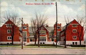 St Louis Missouri~Emerson School~Wrought Iron Gated Entries~c1910 Postcard