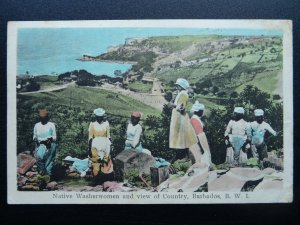 Caribbean BARBADOS Native Washerwomen c1930s Postcard Knight Ltd