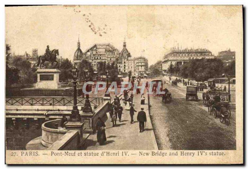 Postcard Old Paris Pont Neuf and Statue of & # 39hneri IV