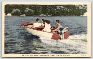 Advertising~Evinrude~Outboard Motor Boating is More Fun Than Flying~Linen 1946