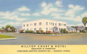 Sarasota Florida~Hilltop Court & Hotel~ART DECO Motel~1951 Linen Postcard