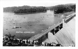 Tennessee~Norris Dam View~Crowd Watching Boats~1938 RPPC-Postcard