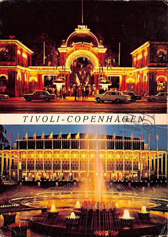 Copenhagen Denmark, Danmark The Entrance to Tivoli at night Copenhagen The En...