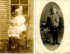 2 RPPC's - Children, One with Teddy Bear