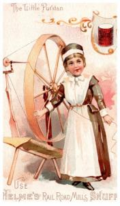 Trade Card ,  Helme's Rail Road Mills  Snuff , Spinning wheel